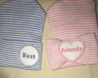 Twins! Hospital Hats. Twin Babies 1st Keepsakes! 2 Newborn Hospital Beanies. Newborn Baby Hats Newborn Beanies. Best Friends