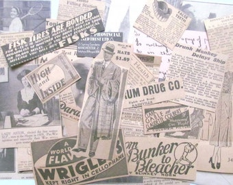 1930s magazine clippings and ephemera: pack of 40 paper pieces. Vintage paper pack for crafting, scrapbooks, decoupage, journaling EP509