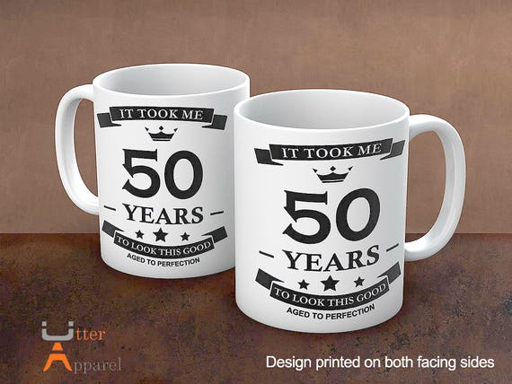 50th Birthday Mug Gift for men, 50th birthday gift women, 50th birthday present, 50 years to look this good