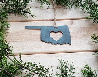 Love Oklahoma State Steel Ornament Rustic OK Metal State Heart Host Gift Keepsake Travel Wedding Favor By BE Creations