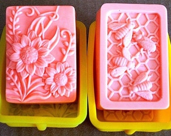 Silicone mold - silicone flower Mold - flower Soap Mold - honeybee mold - honey bee mold - silicone bee mold - bee soap mold - 4 oz