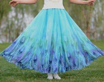 peacock skirt,feather skirt,chiffon skirt,long summer skirt,chiffon maxi skirt,full skirt,long skirt,maxi skirt