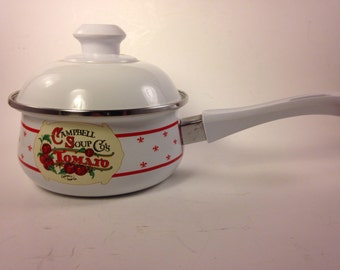 Vintage Campbell Soup Porcelain Enamel On Steel Sauce Pan with Lid by Gibson 1991 with Classic Campbell Label