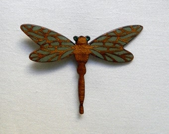 dragon fly wooden brooch
