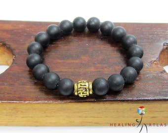 Onyx Om Mani Padme Mantra Mala Bracelet Protection Onyx Bracelet Health Onyx Bracelet Chakra Onyx Bracelet Black Onyx Mantra Yoga Bracelet