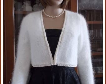 Woman Angora and silk ivory Bolero Cardigan