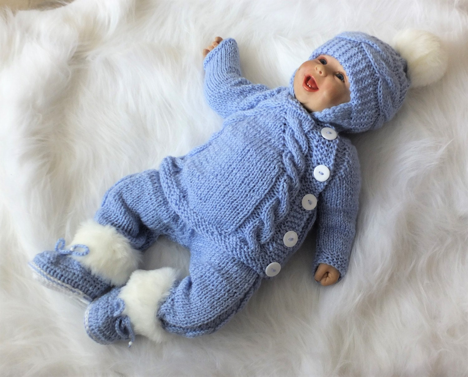 Hand Knit Baby boy ing home outfit Knitted Baby