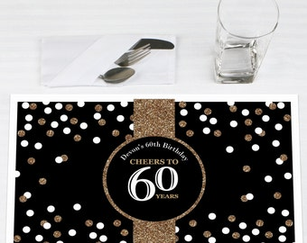 60th Birthday Placemats - Adult 60th Birthday - Gold - Personalized Placemats for Birthday - Party Supplies - Set of 12