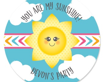 You Are My Sunshine - Personalized Circle Stickers - You Are My Sunshine Custom Baby Shower or Birthday Party Sticker Labels - 24 Count