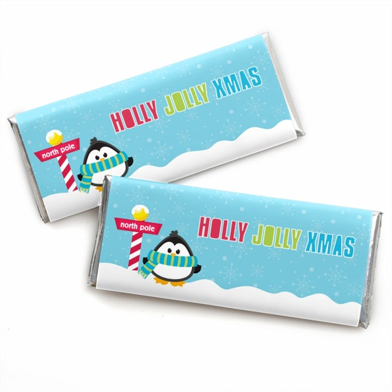 Penguin Holiday Candy Bar Wrappers - Holly Jolly Penguin Holiday ...