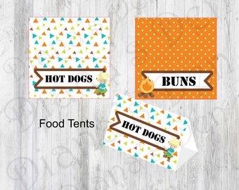 Camping Birthday Food Tents/Camping Birthday Food Place Tents/Camping Birthday Food Labels