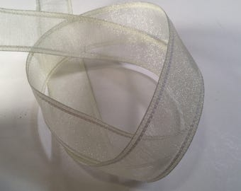 Off White Ribbon, 5 yd Cream Wired Ribbon for Gift Wrapping, Wedding Ribbon, Wreath Supplies, Semi Sheer Ribbon for Bows