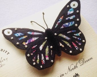 Butterfly brooch silk Liberty Patchwork Monarch Black wingspan 10cm.