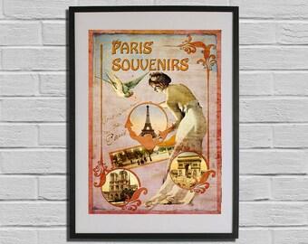 Paris Print Eiffel Tower 1900 - Paris Belle Epoque Fine Art Print Travel Poster Old Fashion France Universal Exposition
