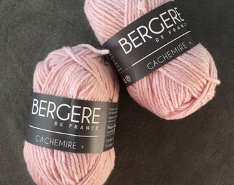 Cachemire +, Cashmere by Bergere de France, DK Weight, 95% Cashmere, Rose Delica, Luxury Yarn, Soft, High Quality Yarn