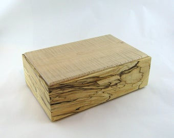 Jewelry box in spalted maple wood  12 X 7 3/4 x 4 1/8.Top is made from figured Maple