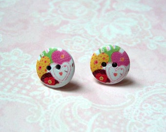 Wooden button heart earrings