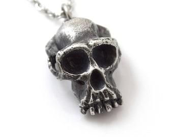 Antiqued Chimpanzee Skull Pendant Necklace