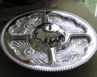 Vintage Kromex Lazy Susan Cheese Appetizer Tray Chrome Cheese and Cracker Set