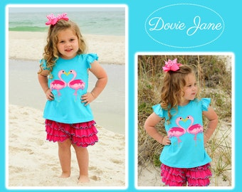 Flamingo Outfit, Girls Flamingo Outfit, Girls Flamingo Clothing, Girls Ruffle Outfit, Toddler Beach Outfit, Girls Beach Outfit, Beach Ruffle