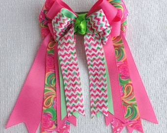 Horse Show Hair Bows/Lilly Inspired Chevron Equestrian clothing/pink green yellow