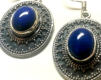 Lapis Lazuli - Earrings - .925 - Sterling Silver - Vintage - Jewelry - Natural stone - Dangles