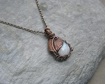 Moonstone necklace ~ Moonstone pendant ~ Leaf necklace ~ Leaf jewellery ~ Gift for her ~ Handmade jewellery ~  Copper necklace ~ Moonstone