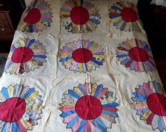 9 Vintage 100% Cotton Dresden Plate Quilt Squares