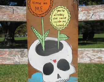 Blink 182 inspired painting on salvaged wood, i miss you lyrics, Blink 182 band, Blink 182 lyrics, skull with flowers growing out of top