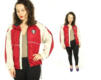 Umbro jacket, Hooded Sport jacket, Jogging jacket, Vintage Tracksuit, Training jacket, Red jacket, Long Sleeves coat, White jacket / Medium