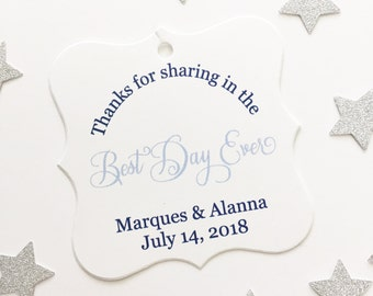 Best Day Ever Custom Wedding Tags, Custom Wedding Hang Tags, Custom Wedding Favor Tags  (FS-016)