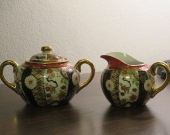 Beautiful Vintage Japanese Porcelain Sugar And Creamer Set