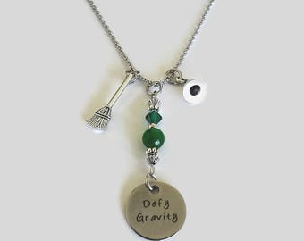 "Wicked The Musical inspired Necklace ""Defy Gravity"" - Broom, Witch Hat Charms - Wicked Musical Gift - Elphaba - Motivational Gift"