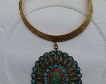 Collar brass, turquoise, coral and jade