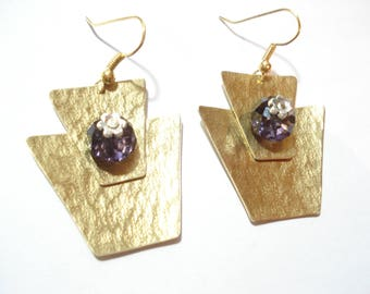 Hammered Bronze Geometrical Cold Connected Purple Czech Glass Beads Earrings Unique Modern Handcrafted Earrings