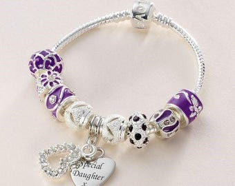 Engraved Bracelet with Purple and Silver European Charms. Personalised Bracelet.