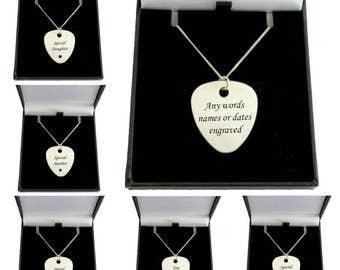 Engraved Plectrum Necklace, Personalised Guitar Pick on Sterling Silver Chain.
