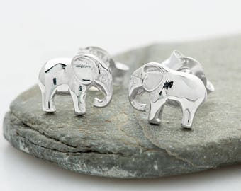 Sterling Silver Elephant Stud Earrings. Matching necklace also available.