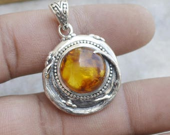 Baltic Amber Necklace, Amber Pendant, Amber 925 Sterling Silver Pendant, Silver Amber Necklace,  Amber Necklace With Silver Chain Jewelry