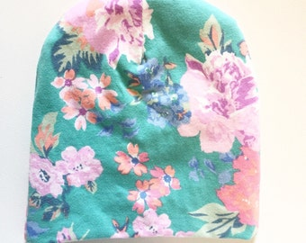 Aqua and pink flower print baby beanie
