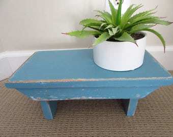 Vintage Blue Wooden Step Stool Milking Stool Small Stool Small Bench