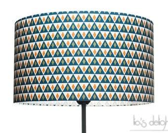 Geometric Drum lampshade scandinavian design diamonds and triangles blue and white
