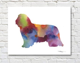 Bearded Collie Art Print - Abstract Watercolor Painting - Wall Decor