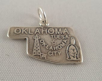 STERLING SILVER State of Oklahoma Charm for Charm Bracelet