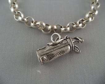 STERLING SILVER 3D Golf Clubs and Bag Charm for Charm Bracelet
