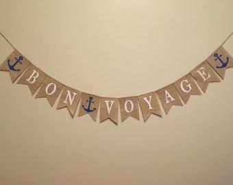 BON VOYAGE Burlap Banner,Nautical Burlap Banner, Travel Burlap Banner, Nautical ThemeBurlap Bunting,Burlap Garland