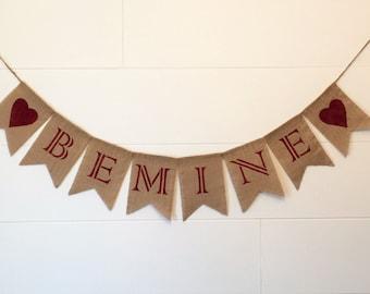 Valentine Burlap Banner, Be Mine Burlap Banner, Valentine Decor, Heart Banner/Garland, Photo Prop