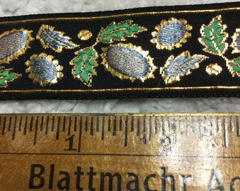 Brocade Trim - Green, Pale blue, and Gold on Black