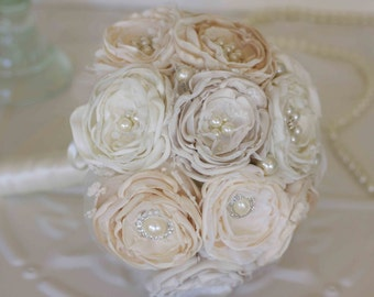 Fabric bouquet, Vintage Inspired Brooch Wedding Bouquet, Cream and Ivory satin, chiffon and Lace Bridesmaids Bouquet