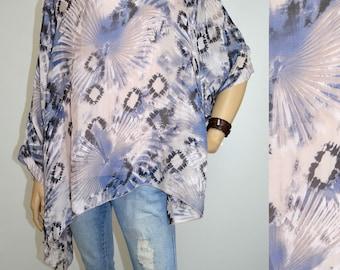 42 44 46 48 / 14 16 18 20 Italian 100% Silk Lagenlook Tunic Poncho 2Pc Top Modern